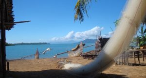 Nets and boats in a Malagasy village (Madagascar)